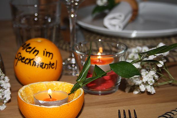 Tisch Dekoration mit Orangen